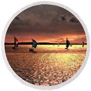 Sunset Sail - Bermuda Round Beach Towel