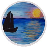 Sunset Sail Dark Round Beach Towel