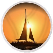 Sunset Sail Round Beach Towel by Gary Smith