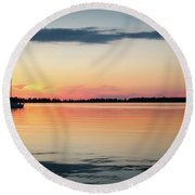 Sunset Sail On Calm Waters Round Beach Towel