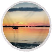 Sunset Sail On Calm Waters Round Beach Towel by Kelly Hazel