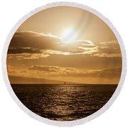 Sunset Sailboat Round Beach Towel