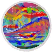Sunset Sailboat Round Beach Towel