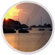 Sunset Sailing Boats Round Beach Towel