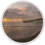Sunset Scripps Beach Pier La Jolla San Diego Ca Image 4  Round Beach Towel by Bruce Pritchett