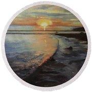 Sunset Sea Round Beach Towel