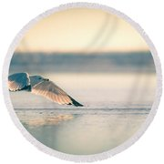 Sunset Seagull Takeoffs Round Beach Towel
