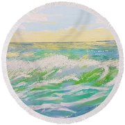 Sunset Seascape 6 Round Beach Towel by Judi Goodwin