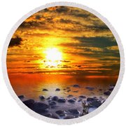 Sunset Shoreline Round Beach Towel