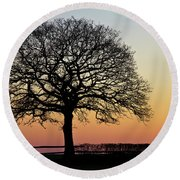 Round Beach Towel featuring the photograph Sunset Silhouette by Clare Bambers