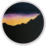 Round Beach Towel featuring the painting Sunset Silhouette by Kevin Daly