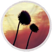 Sunset Silhouettes Round Beach Towel by Maria Urso