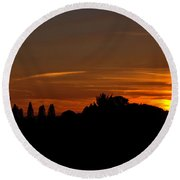 Sunset Silhoutte Round Beach Towel