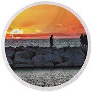 Sunset Silhoutte Round Beach Towel