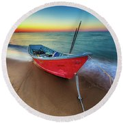 Sunset Skiff Round Beach Towel
