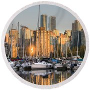 Sunset Skyline Round Beach Towel