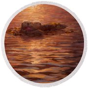 Sea Otters Floating With Kelp At Sunset - Coastal Decor - Ocean Theme - Beach Art Round Beach Towel
