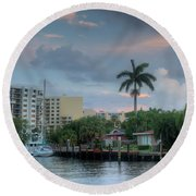 sunset South Florida canal Round Beach Towel