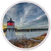Sunset, Squirrel Point Lighthouse Round Beach Towel