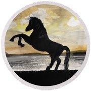 Sunset Stallion Round Beach Towel by Carole Robins