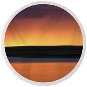 Round Beach Towel featuring the photograph Sunset Storm by Heidi Hermes