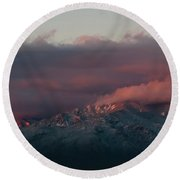 Sunset Storm On The Sangre De Cristos Round Beach Towel