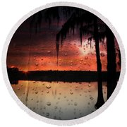 Sunset Storms Round Beach Towel
