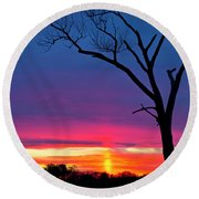 Sunset Sundog  Round Beach Towel
