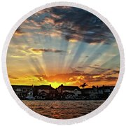 Sunset Sunrays Over Huntington Harbour Round Beach Towel by Peter Dang