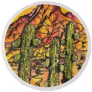 Desert Sunset Sunrise  Round Beach Towel