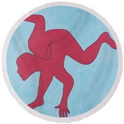 Round Beach Towel featuring the painting Sunset Surfer by Ben Gertsberg