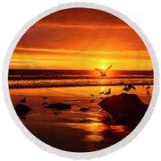 Sunset Surprise Round Beach Towel