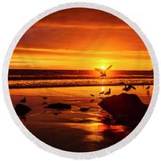 Sunset Surprise Round Beach Towel