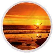Sunset Surprise Pano Round Beach Towel