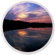 Round Beach Towel featuring the photograph Sunset Swirl by Steve Stuller