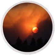 Sunset Through Smoke Round Beach Towel