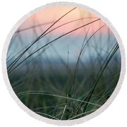 Sunset  Through The Marsh Grass Round Beach Towel