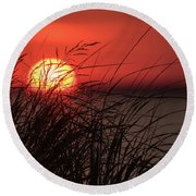 Sunset Through The Reeds Lavallette Nj Round Beach Towel