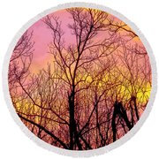 Sunset Through The Trees Round Beach Towel by Craig Walters