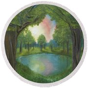 Round Beach Towel featuring the mixed media Sunset Through Trees by Angela Stout