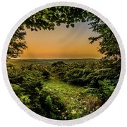 Sunset Through Trees Round Beach Towel