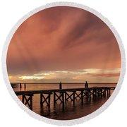 Sunset Thru Storm Clouds Round Beach Towel