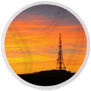 Round Beach Towel featuring the photograph Sunset Tower by RKAB Works