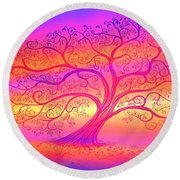 Round Beach Towel featuring the painting Sunset Tree Cats by Nick Gustafson