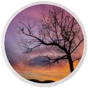 Round Beach Towel featuring the photograph Sunset Tree by Darren White
