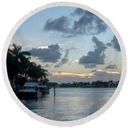 Sunset Tropical Canal Round Beach Towel