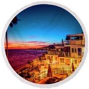 Sunset Twilight At The Laguna Riviera Round Beach Towel