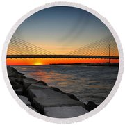 Sunset Under The Indian River Inlet Bridge Round Beach Towel