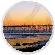 Sunset Under The Pier Round Beach Towel