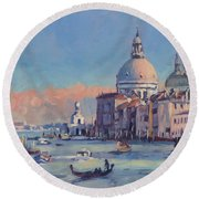 Sunset Venice Round Beach Towel